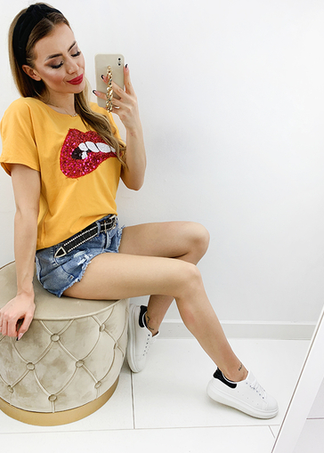 T-shirt Sequin Lips miodowy